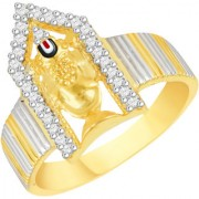 VK Jewels Tirupati Balaji Gold and Rhodium Plated Alloy Ring for Men Made With Cubic Zirconia - FR2569G [VKFR2569G18]