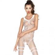 "Секси цяло боди с отвор и флорални мотиви ""PASSION BS045 WHITE"""