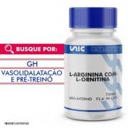 L-Arginina 500mg com L-Ornitina 250mg 90 Cápsulas