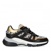 Manfield Zwarte dad sneakers met gouden en panterprint details - female - zwart - Grootte: 36 37 38 39 40 41 42