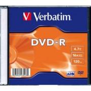 DVD-R Verbatim SL 16X 4.7GB SINGLE SLIM CASE MATT SILVER (43547)