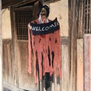 Halloween Hang Ghost Resin Electric Skull Bar Door Welcom Ghost Voice Skeleton Props Decorations (Orange) -HC6350E