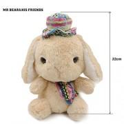 Mr. Bear & His Friends 28CM Stuffed Animals Rabbit Dolls Big Eyes Long Ear Loppy Rabbits Soft Plush Toys for Children Girls Kids Huggable Doll Gifts - Brown