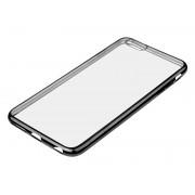 Husa Carcasa de Protectie pentru Telefon Smartphone iPhone 7, Transparenta cu Margini pe Negru Metalizat