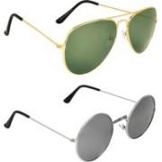 Zyaden Aviator, Round Sunglasses(Green, Silver)