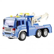 Naladoo Friction Powered Wrecker Tow Truck 1:16 Toy Towing Vehicle & Lights and Sounds