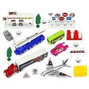 Urban City Sport Metal Children's Kid's Toy Vehicle Playset w/ Variety of Vehicles Accessories