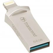 USB DRIVE, 64GB, Transcend JetDrive Go 500, Lightning&USB3.1, Silver Plating (TS64GJDG500S)