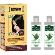 Certified Organic Semi Permanent Hair Colour Botanical Indus Black And Colour Protective Shampoo Combo Pack Of 3