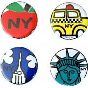 New York Mini Button Set of 4 1.25 inch NY City Souvenir Lapel Pins by Artist Mary Ellis (NY Set 1)