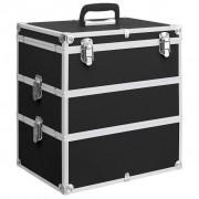vidaXL Caixa de maquilhagem 37x24x40 cm alumínio preto