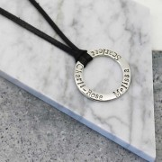 Hilary & June Personalised Sterling Silver Circle Pendant Necklace