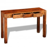 vidaXL Console Table with 3 Drawers 80 cm Solid Sheesham Wood