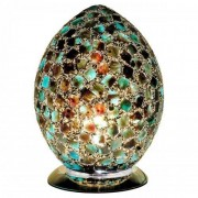 Mosaic Green Glass Egg Table Lamp