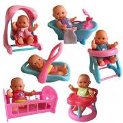 Set of 6 Mini Dolls with Mini Bathtub, Infant Seat, Cradle, Highchair, Walker, and Swing. by The New York Doll Collection