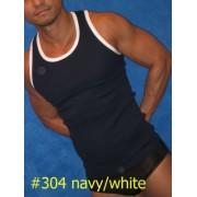 Whittall & Shon SOBE Contrast Trim Tank Top T Shirt Navy/White 304