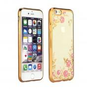 Силиконов гръб - кейс с прозрачен гръб с камъни и цветя за iPhone 6 / 6s (ЗЛАТИСТ КАНТ)