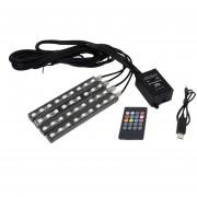 3 * 2a 4.5W 36 Smd-5050-leds RGB 4 En 1 USB Car Interior Piso Atmósfera Colorida Decoracion Lampara De Luz De Neon Con Control Remoto Inalámbrico Y El Control De Voz Función