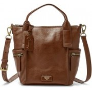 Fossil Women Brown Genuine Leather Satchel