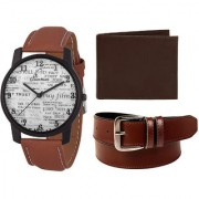 Jack Klein Combo of Brown Strap White Dial Analog Wrist Watch Brown Belt And Wallet