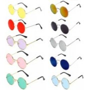 Elgator Round Sunglasses(Yellow, Red, Violet, Pink, Green, Black, Silver, Blue)