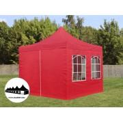 3x3m összecsukható pavilon ablakos Piros (Normál kivitelű)