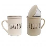 Set 2 Cani pentru Ceai infuzor metalic si capac Ceramica 320 ML x 2