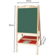 Emob Big Size Wooden Educational Double Sided Foldable Drawing Writing Board for Kids (Multicolor)
