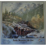 SunsOut Rocky Mountain Life Line 550 Piece Jigsaw Puzzle Railroad Mountains #19752