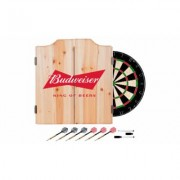 Beer Brand Wood Dart Cabinet Set with Darts and Board Budweiser - Bow Tie