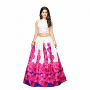 Latest Banglory Satin Silk Printed Pink Color Semi Stitched Lehngha (RFPINKROZE)