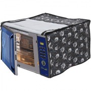 Glassiano Floral Grey Printed Microwave Oven Cover for Samsung 21 Litre Convection Microwave Oven CE73JD-B/XTL Black