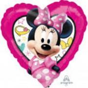 "Fólia lufi 9"" szív, Minnie, pink, 23 cm"