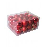 Set 24 globuri mici, 2.5 cm, pentru brad -Rosu