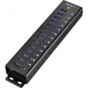 13+1 portos USB HUB alumínium gyorstős (1299048)