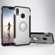 Para Huawei P20 Lite 360 Grados De Rotacion Anillo Magnetico De Armadura Protectora Caso Volver Funda (plata)