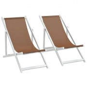 vidaXL Scaune pliante de plajă, 2 buc., maro, aluminiu și textilenă