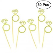 30pcs Wedding Decorations Wedding Cupcake Toppers Glitter Diamond Ring Design for Weddings Bridal Showers Party Supplies (Golden)