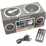 Hordozható multimédia lejátszó hangszóró akkumulátorral távirányítóval Mp3,FM-Rádió, USB, SD kártya, 3,5 jack - DLS-6607