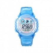 Ceas de copii sport SKMEI 1451 waterproof 5ATM cu cronometru alarma data si iluminare ecra albastru