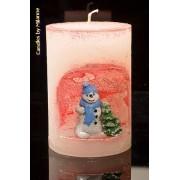 kaarsen: Sneeuwman winterkaars, hoogte: 10,5 cm ROOD - Kerst