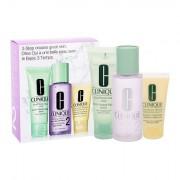Clinique 3-Step Skin Care 2 confezione regalo acqua detergente Clarifying lozione 100 ml + sapone detergente Liquid Facial Soap Mild 250 ml + prodotto idratante DD ml 30 ml per donna