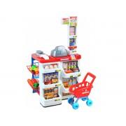 Set pentru copii supermarket cu casa de marcat, scanner, rafturi, carucior si alte accesorii