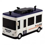3D Light Police Bus Toys for Boys Kids Baby Musical Toy Bump and Go Colorful Lights and Music