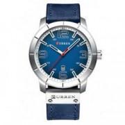 Ceas Curren Barbatesc Quartz Casual Elegant Albastru PN999563AU curea din piele afisaj Analog