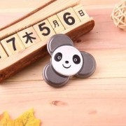 Panda Pattern Fidget Spinner Toy Stress Reducer Anti-Anxiety Toy for Children and Adults 5 Minutes above Rotation Time Small Steel Beads Bearing + Aluminum Alloy Material Three Leaves(Black)