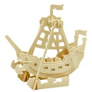 Wooden Simulation Sea Rover Assembly Puzzle Model 3D Boat Puzzles Block Educational Toy Gift for Kids