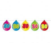 Merkloos 80 Jaar thema leeftijd versiering ballon slingers van 10 meter