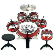 Velocity Toys 11 Pcs Children's Kid's Toy Percussion Musical Instrument Drum Playset w/ 6 Drums, Cymbal, Chair, Drumsticks (Red)