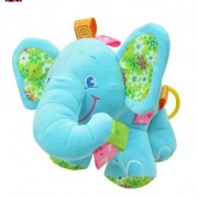 New Baby Elephant Plush Toy Sounding Musical Rattle Crinkle Sound (Blue)